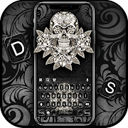 Chrome Skull Keyboard Background