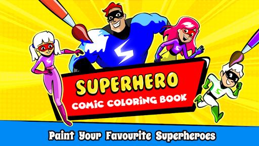Superhero Coloring Book Game & Comics Drawing book  screenshots 1