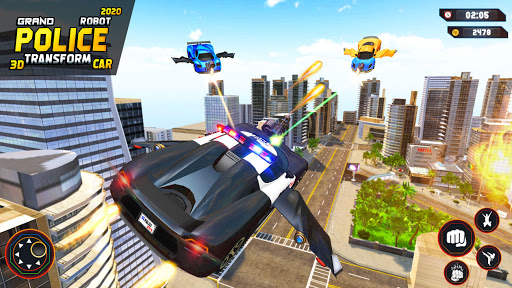 Flying Grand Police Car Transform Robot Games  Screenshots 10