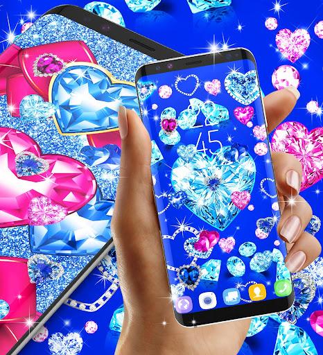 Blue hearts crystal diamonds live wallpaper android2mod screenshots 6