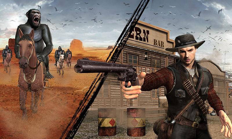 Screenshot 4 de Apes Age Vs Wild West Cowboy: Survival Game para android