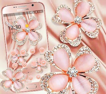 Glitter Gold Rose Diamond Flower Theme 1.1.4 APK + MOD (Unlocked) 1