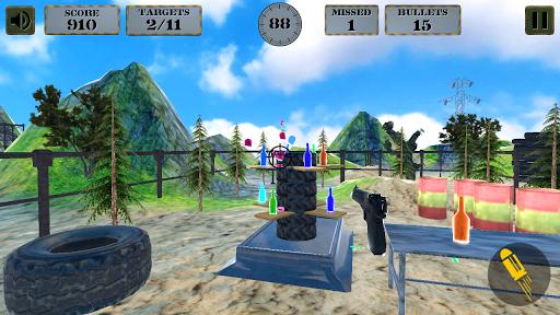 3d bottle shooting gun game screenshot 2