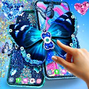 Blue glitter butterflies live wallpaper