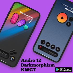 Andro 12 Darkmorphism KWGT Apk [PAID] Download 3