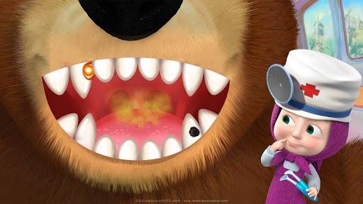 Masha and the Bear: Free Dentist Games for Kids android2mod screenshots 4