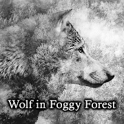 cool Wallpaper Wolf in Foggy Forest Theme