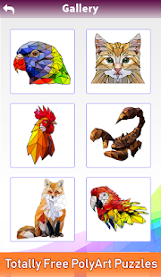 Animals Poly Art:Color by Number, Sticker Coloring