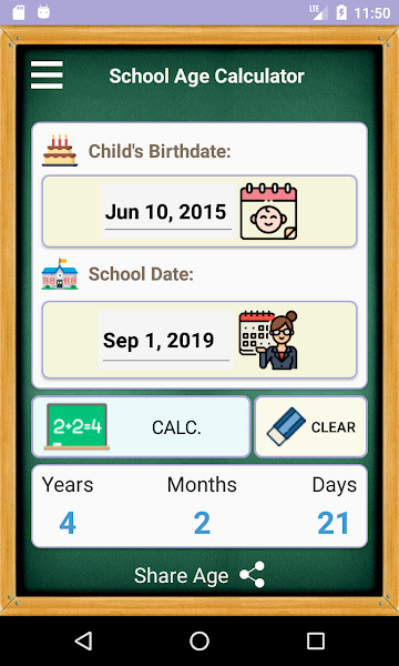 School Age Calculator App 2020-2021