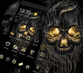 Gold Schwarz Horrific Skull Theme Screenshot