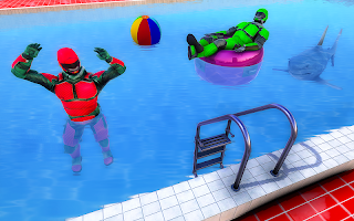 Superhero Robot Water Slide Simulator