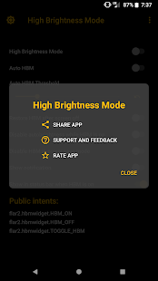 High Brightness Mode Screenshot