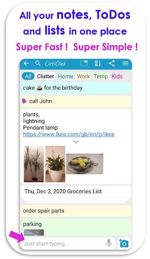 Download APK: ListiClick App – Fastest List, Notepad & ToDo v145 [AdFree]
