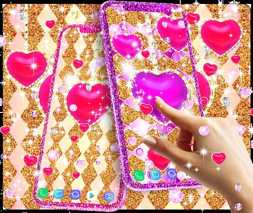 Golden luxury diamond hearts live wallpaper apktram screenshots 10