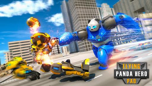 Flying Police Panda Robot Game: Robot Car Game screenshots 4