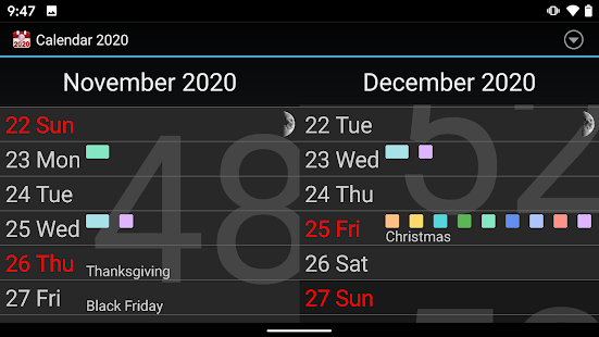 Calendar 2021 : agenda, events, reminders