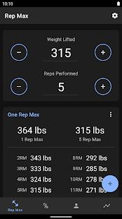1 Rep Max Calculator and Log