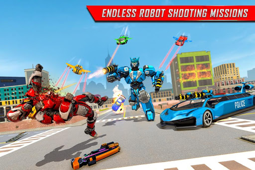 Flying Limo Robot Car Transform: Police Robot Game  screenshots 4