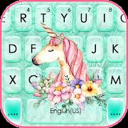 Floral Cyan Unicorn Keyboard Background