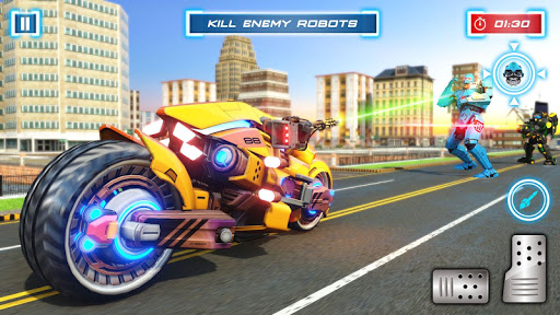 Lion Robot Transform Bike War : Moto Robot Games 1.5 screenshots 2