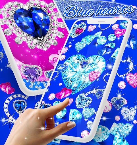 Blue hearts crystal diamonds live wallpaper android2mod screenshots 2