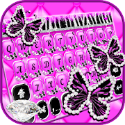 Luxury Butterfly Zebra Keyboard Theme