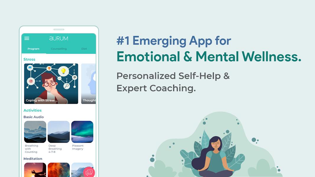 Aurum - best therapy app, stress, anxiety.