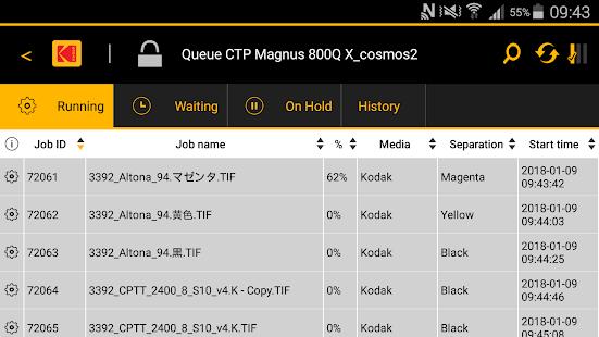 Application de contrôle CTP mobile Kodak