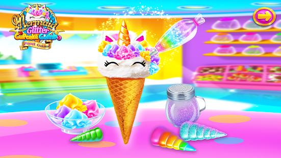 Mermaid Glitter Cupcake Chef - Ice Cream Cone Game  screenshots 2