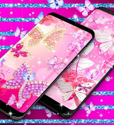 Diamond butterfly pink live wallpaper apktram screenshots 6