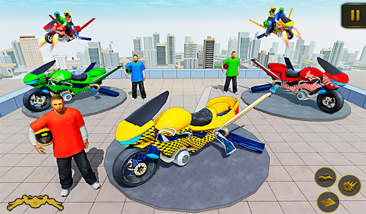 Flying Hover Bike Taxi Driver City Passenger Sim screenshots 7