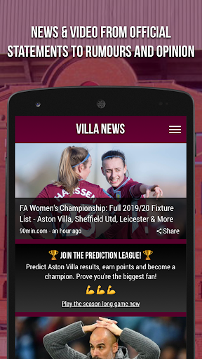 villa news - fan app screenshot 1