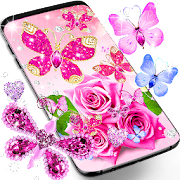 Diamond butterfly pink live wallpaper
