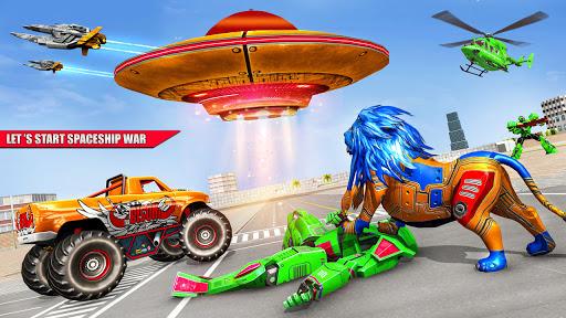 Space Robot Transport Games - Lion Robot Car Game screenshots 1