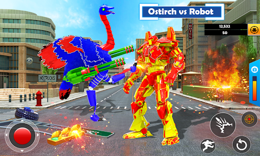 Flying Ostrich Air Jet Robot Car Game  Screenshots 1