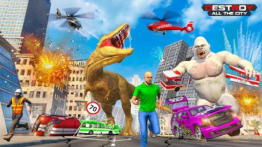 Code Triche Angry Dinosaur Rampage Gorilla Animal City Smasher APK MOD (Astuce) screenshots 1