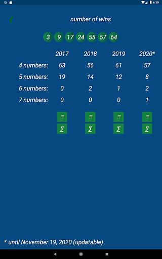 Keno FR combination statistics  screenshots 15