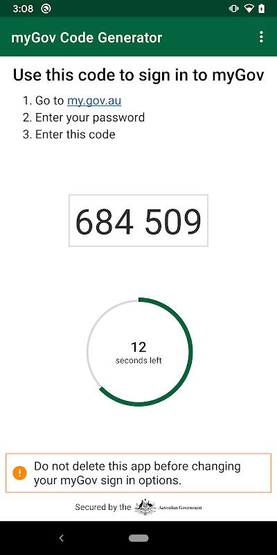 myGov Code Generator Android App Screenshot