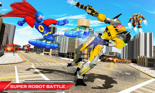 Flying Hero Robot Transform Car: Robot Games modiapk screenshots 1