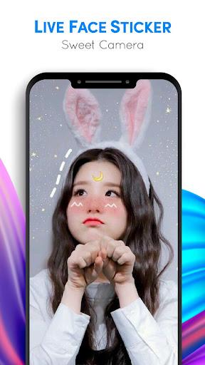 Live Face Sticker Sweet Camera  Screenshots 4