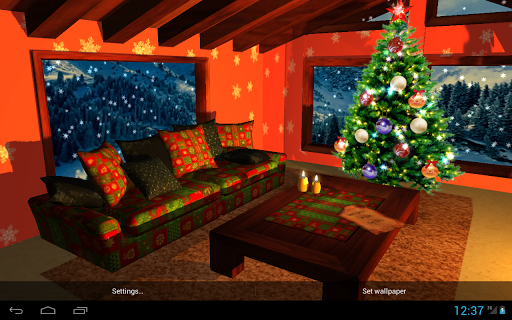 3D Christmas Fireplace HD Live Wallpaper screenshots 1