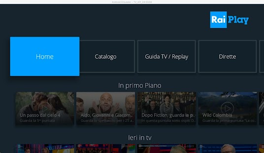 RaiPlay per Android TV Capture d'écran