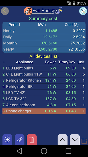 Screenshot 4 de EvoEnergy - Electricity Cost Calculator Free para android