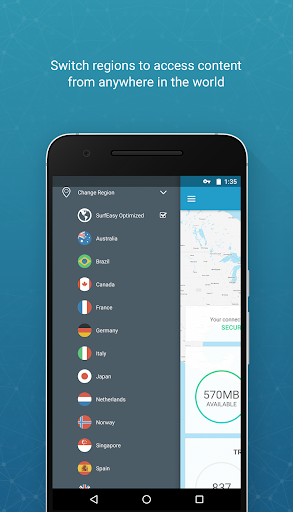 surfeasy secure android vpn screenshot 1
