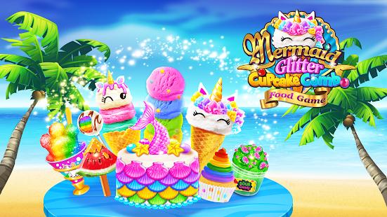 Mermaid Glitter Cupcake Chef - Ice Cream Cone Game  screenshots 1