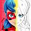 Miraculous Ladybug & Cat Noir. Color by number