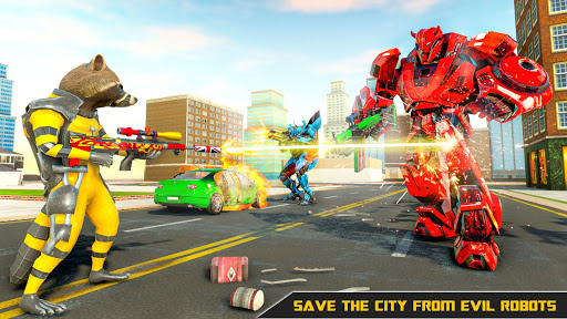 Raccoon Robot Hero Game: Flying Bike Robot Games  Screenshots 18
