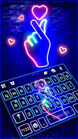 screenshot of Love Heart Neon Wallpapers Keyboard Background