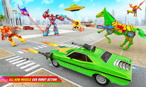 Flying Muscle Car Robot Transform Horse Robot Game apktram screenshots 2