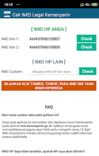Cek IMEI Legal Kemenperin 1.8 APK + Мод (Unlimited money) за Android